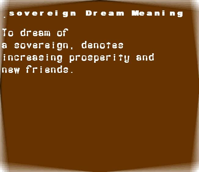 dream meanings sovereign