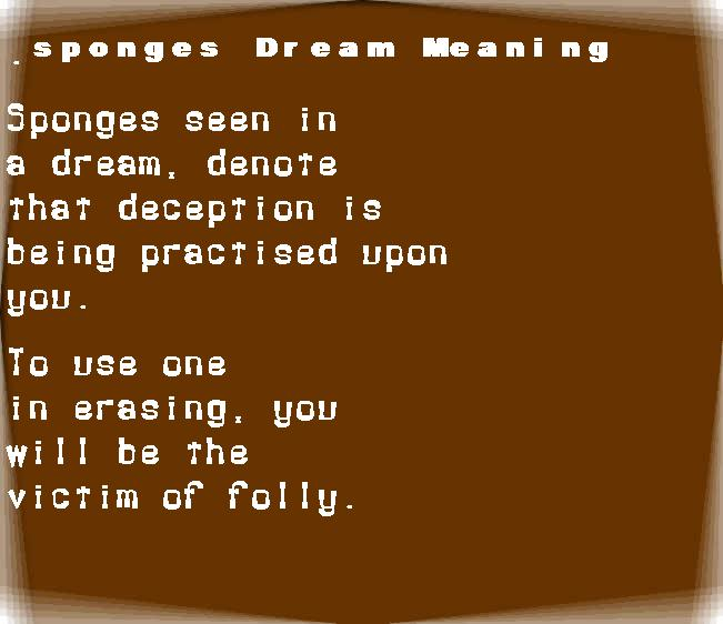 dream meanings sponges