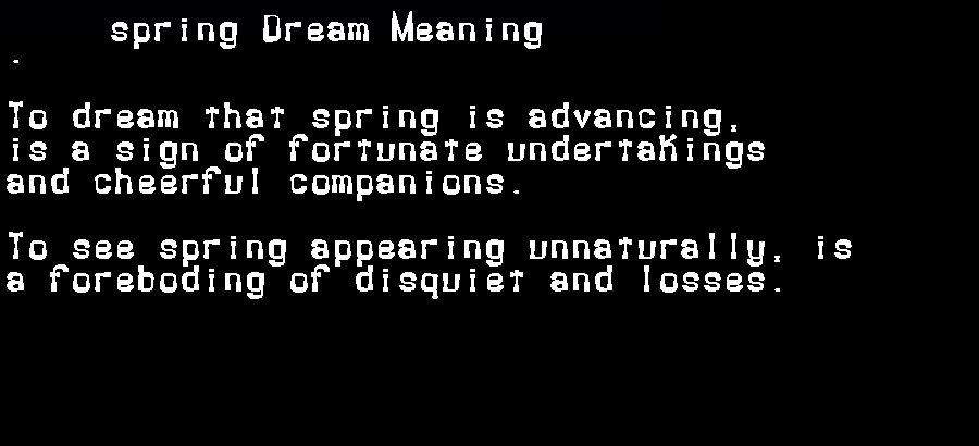 dream meanings spring