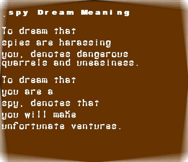 dream meanings spy