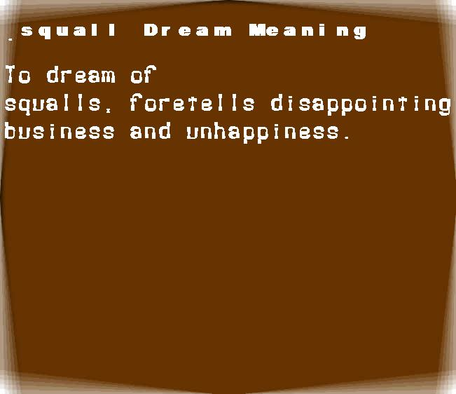 dream meanings squall