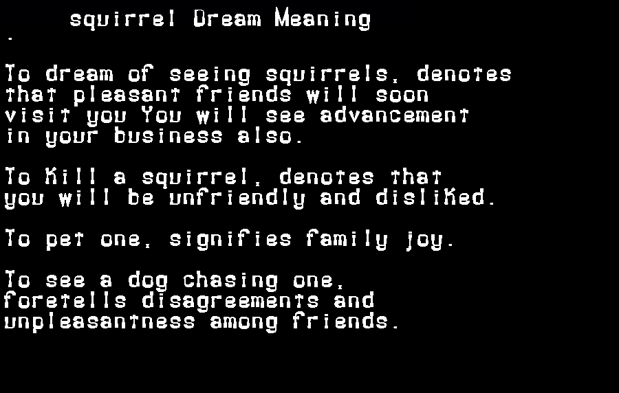 dream meanings squirrel