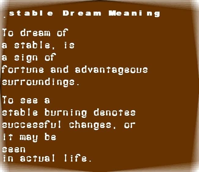 dream meanings stable