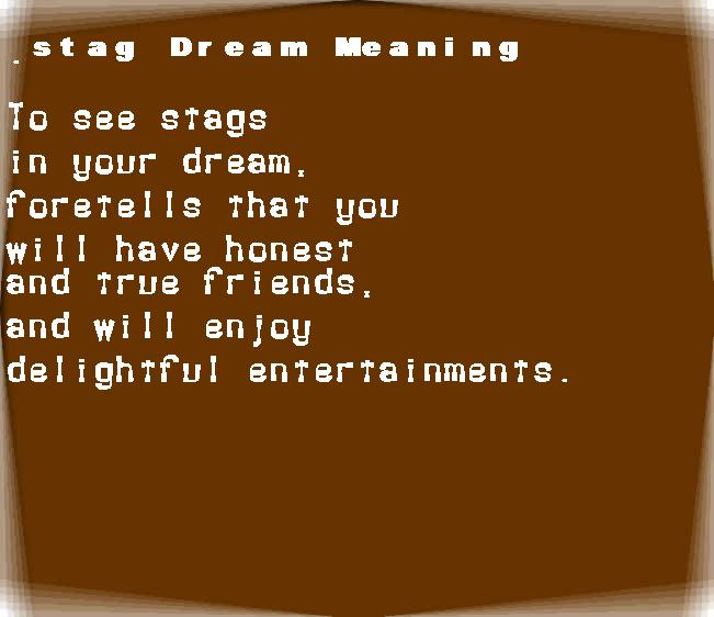 dream meanings stag