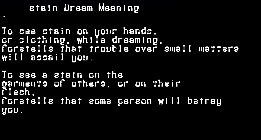 dream meanings stain