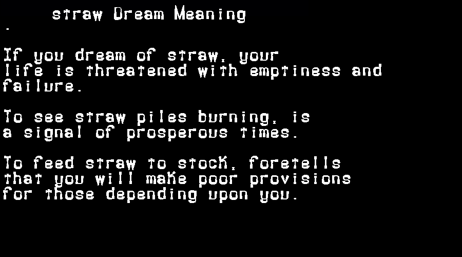 dream meanings straw