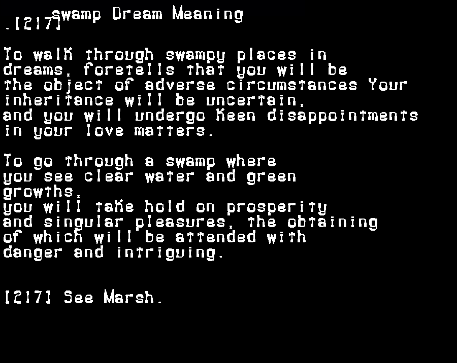dream meanings swamp