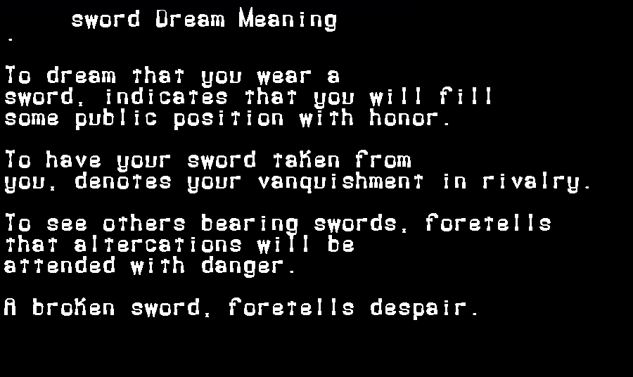 dream meanings sword