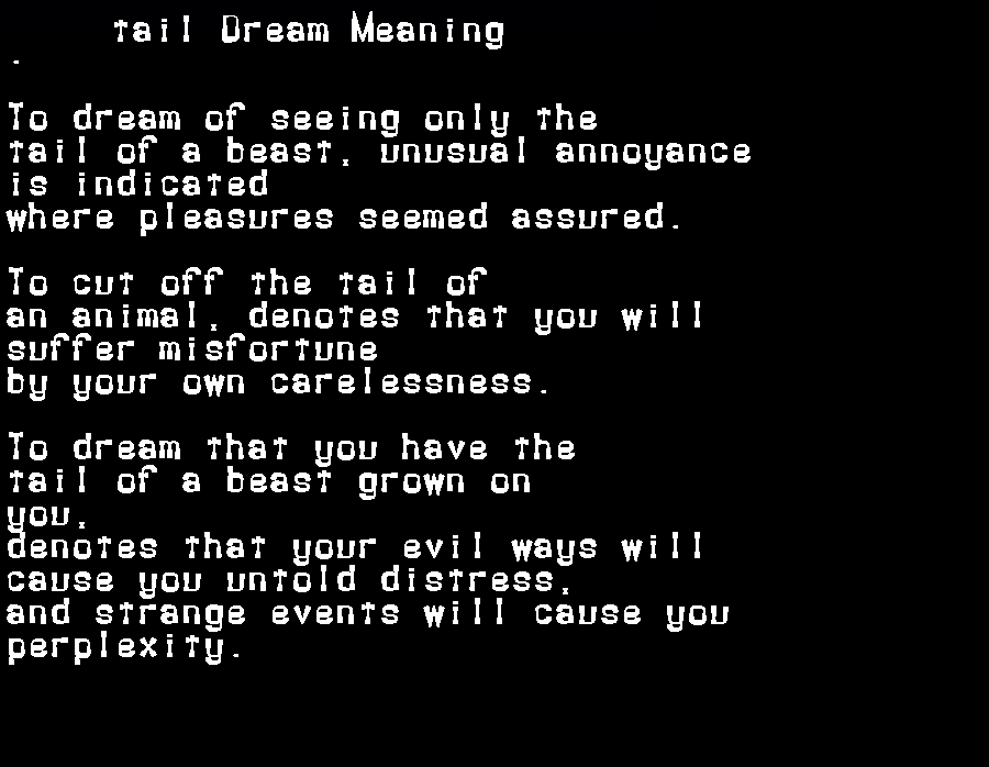 dream meanings tail