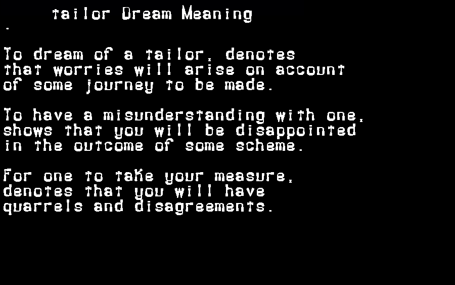 dream meanings tailor