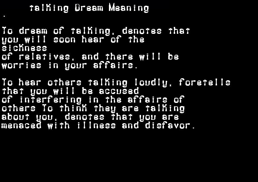 dream meanings talking