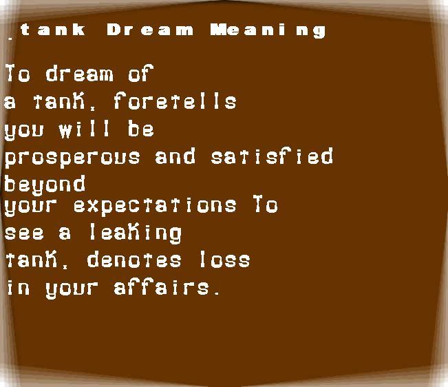 dream meanings tank