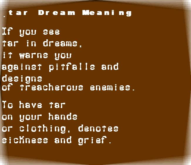 dream meanings tar