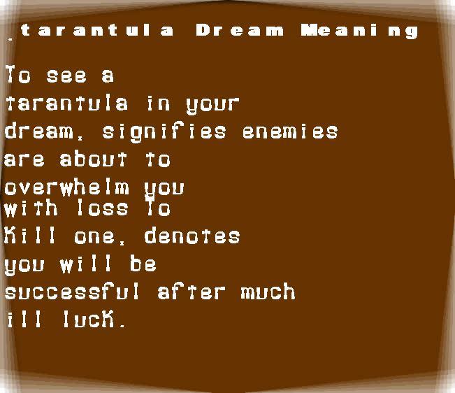 dream meanings tarantula