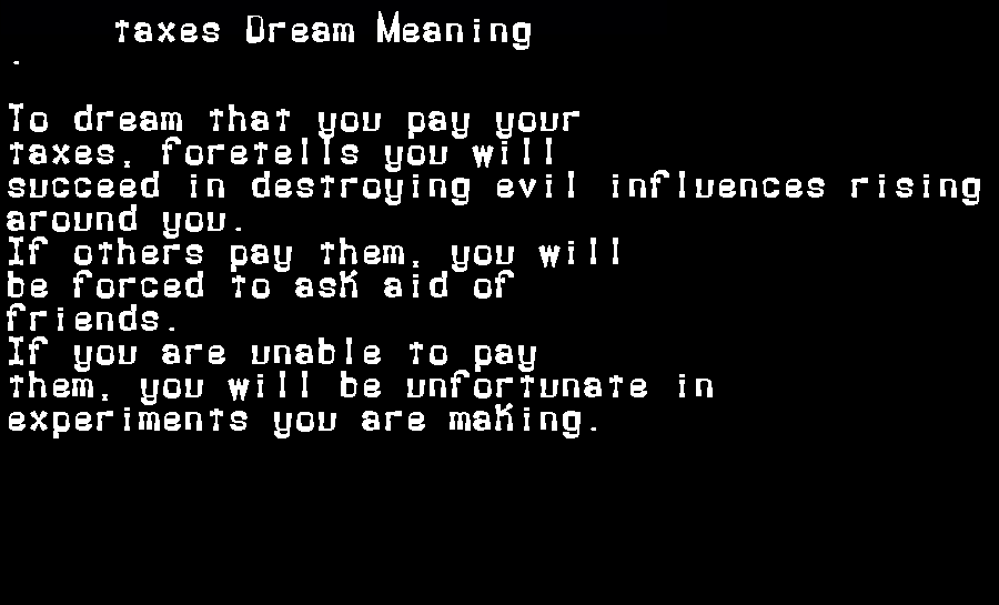 dream meanings taxes