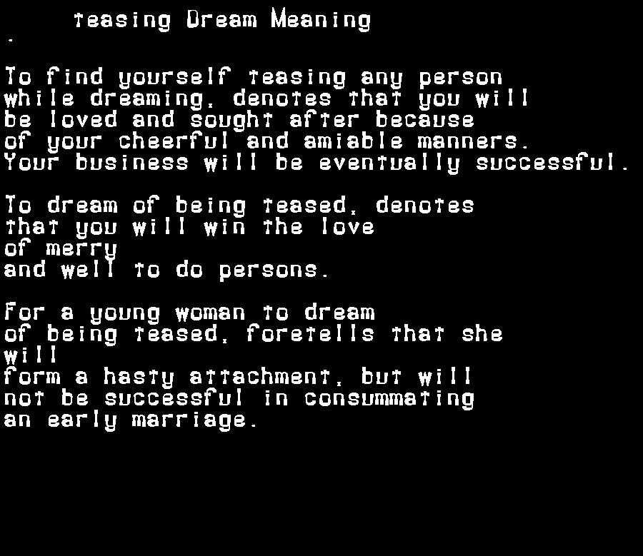 dream meanings teasing