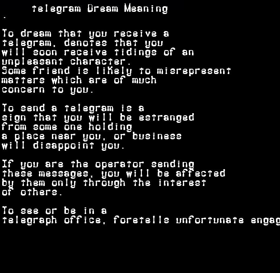 dream meanings telegram