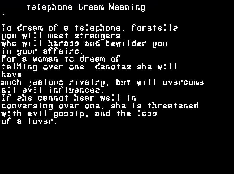 dream meanings telephone