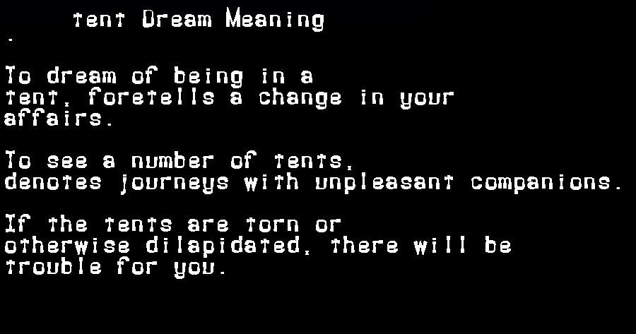 dream meanings tent