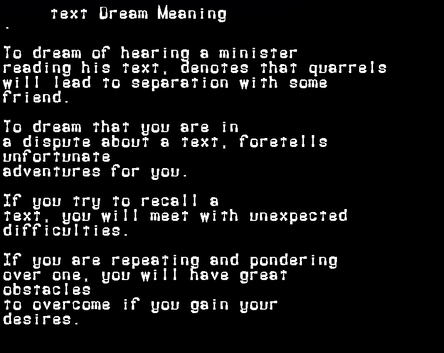 dream meanings text
