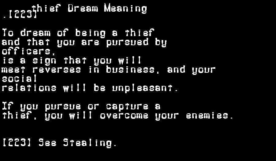 dream meanings thief