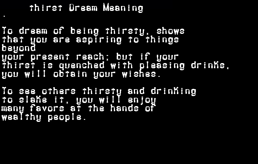 dream meanings thirst