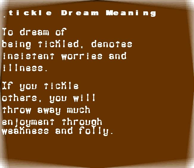 dream meanings tickle