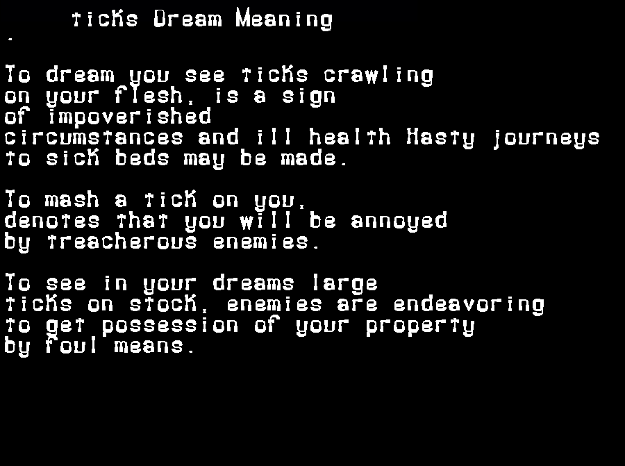 dream meanings ticks