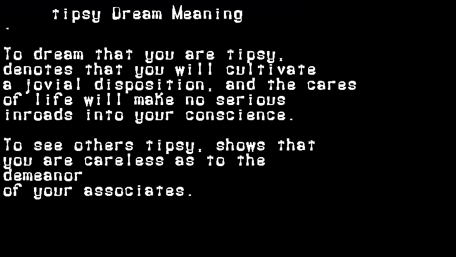 dream meanings tipsy