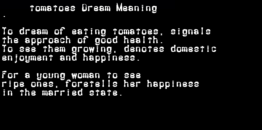 dream meanings tomatoes