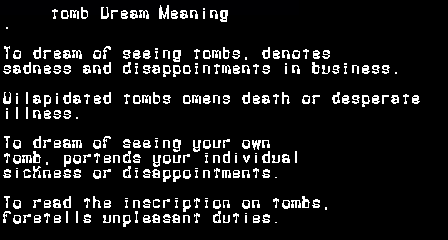 dream meanings tomb