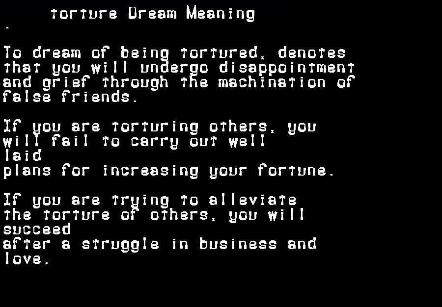 dream meanings torture