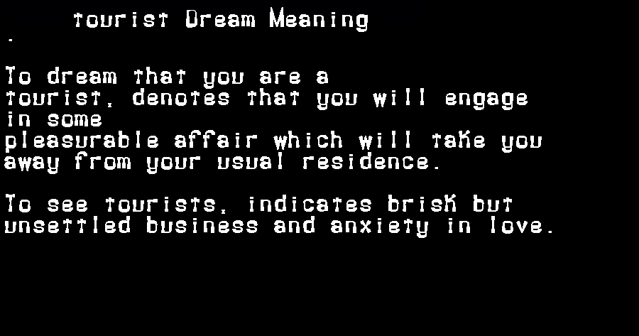dream meanings tourist