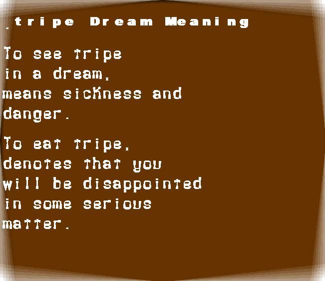 dream meanings tripe