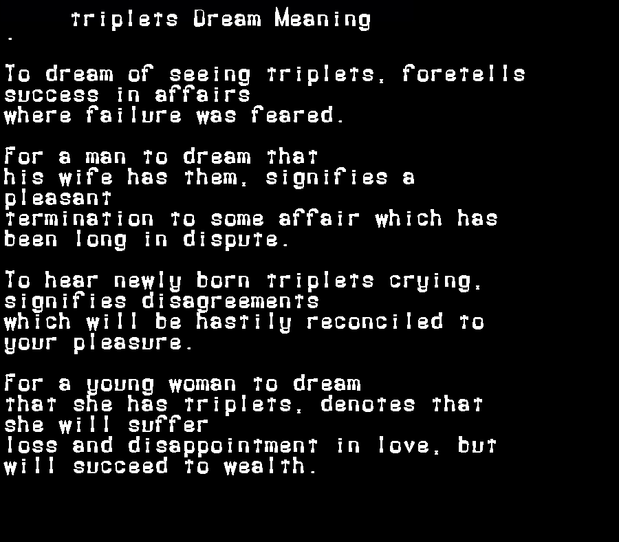 dream meanings triplets