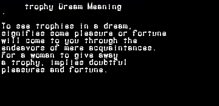 dream meanings trophy
