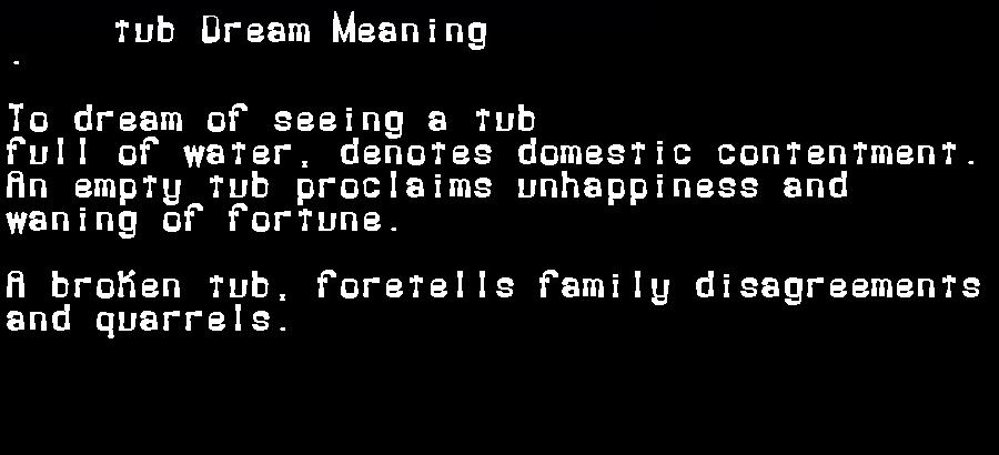 dream meanings tub