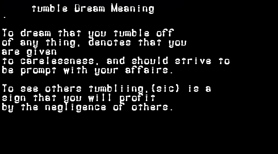 dream meanings tumble
