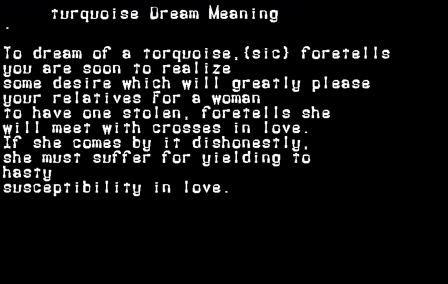 dream meanings turquoise