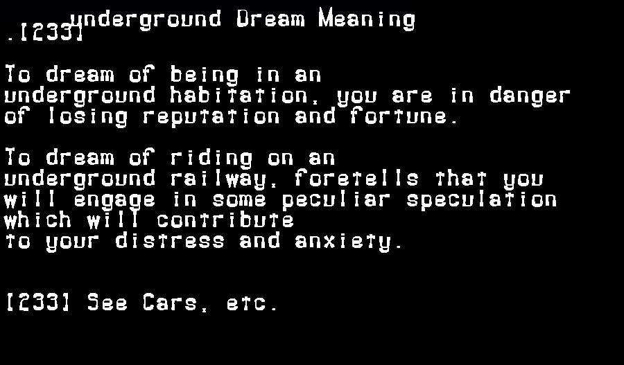 dream meanings underground