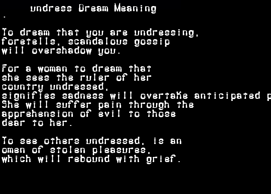dream meanings undress
