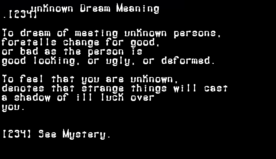 dream meanings unknown