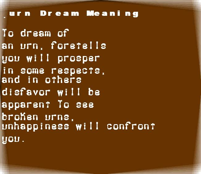 dream meanings urn
