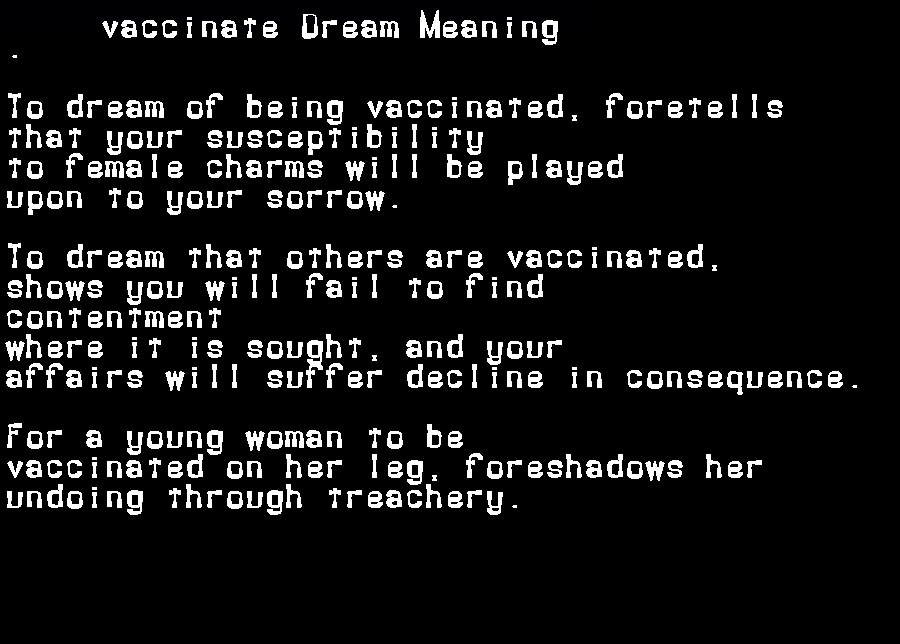 dream meanings vaccinate