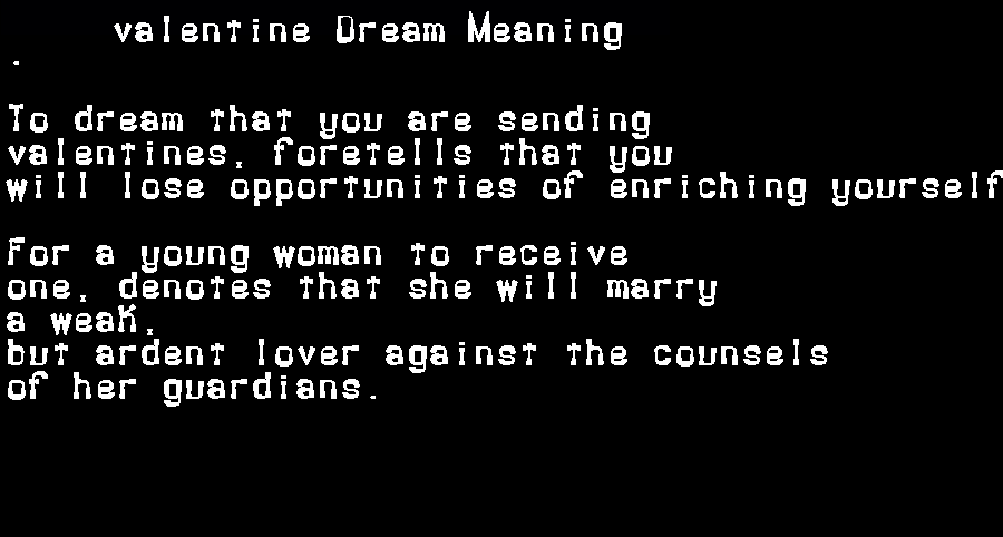 dream meanings valentine