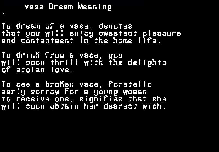 dream meanings vase