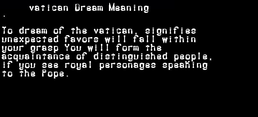 dream meanings vatican