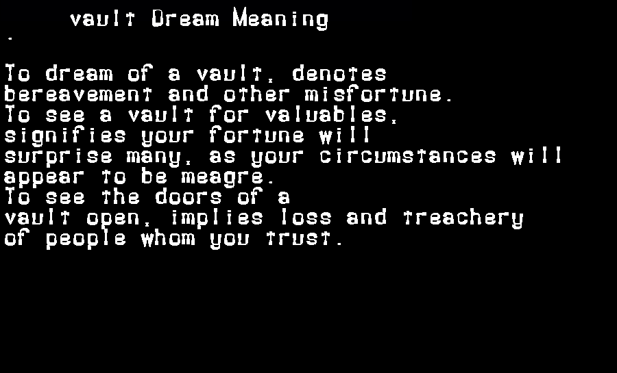 dream meanings vault