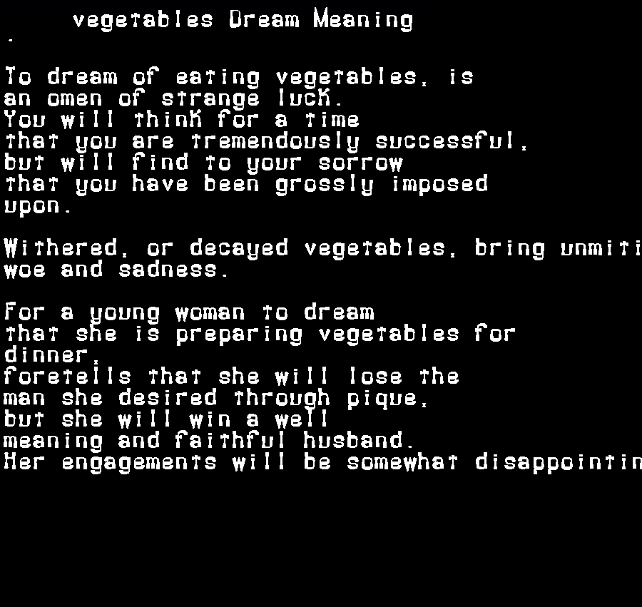 dream meanings vegetables