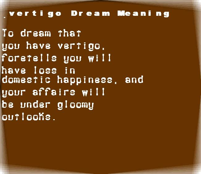 dream meanings vertigo
